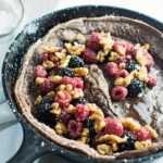 Chocolate Dutch Baby with Warmed Maple Syrup
