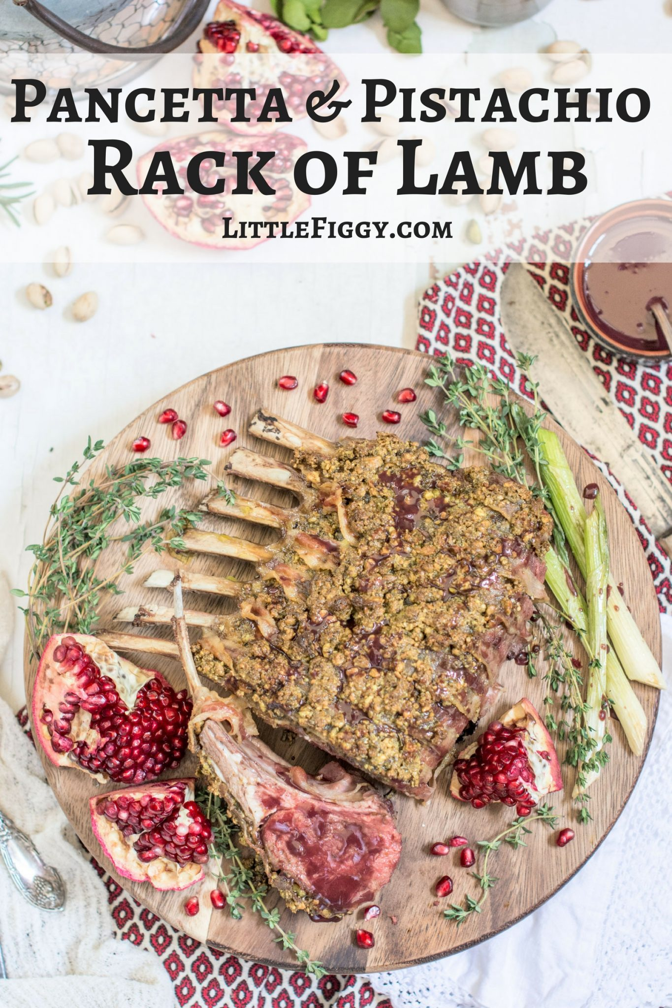 Pancetta wrapped Pistachio Rack of Lamb, get the recipe at Little Figgy Food! @TheFreshMarket #TFMfortheHolidays #ad